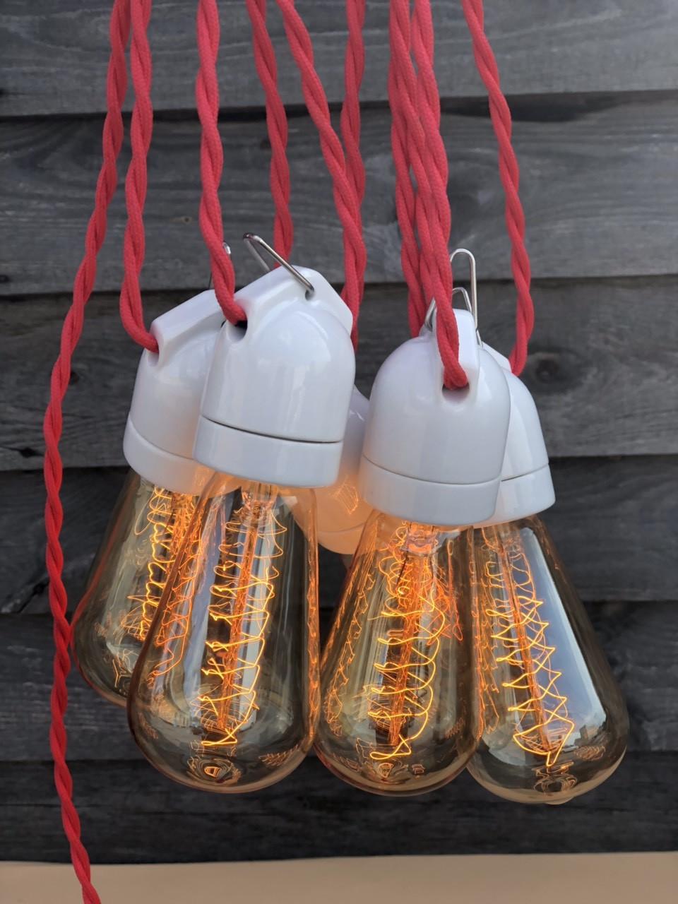 Ретро гирлянда черная 25 метров 51 лампа LED EDISON + защита от дождя IP-33 и монтажный трос в подарок