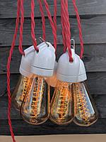Ретро гирлянда черная 25 метров 51 лампа LED EDISON + защита от дождя IP-33 и монтажный трос в подарок, фото 1
