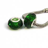 Бусина типа пандора граненая, стекло, цвет зеленый