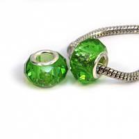 Бусина типа пандора, граненая, стекло, цвет светло-зеленый