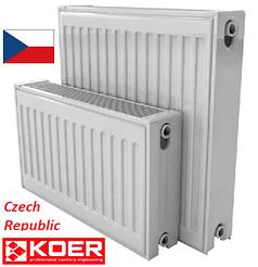 Стальной радиатор отопления 500 на 500 тип 22 KOER боковое подключение