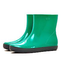 Женские утепленные резиновые ботинки (ботильоны, сапоги) NORDMAN ALIDA светло-зеленые с серой подошвой