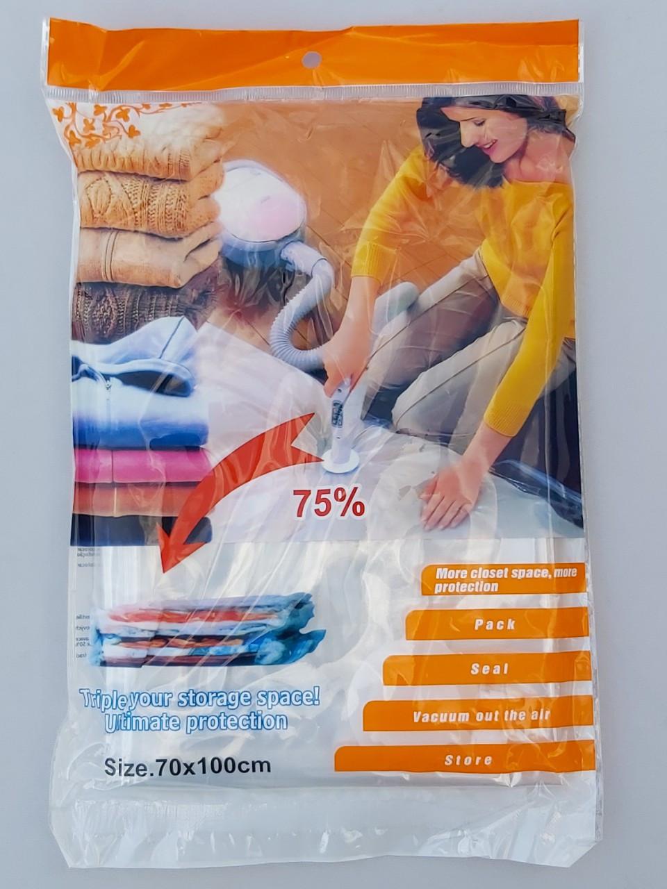 Вакуумный пакет с клапаном для упаковки и хранения одежды. Размер 70*100 см
