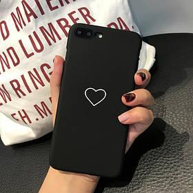 Чехол Case Cover Hard Heart Love Black для Apple IPhone 6/6S