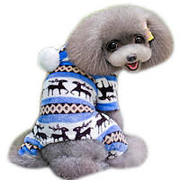 Флисовый комбинезон для собак «Олени», синий, одежда для собак из флиса для мелких, средних пород
