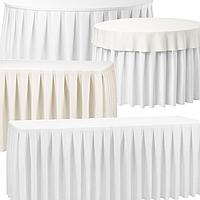 Банкетные и Фуршетные юбки на столы высотой от 70 до 80см, с бантовой складкой 1:2...1:3, из матовой плотной ткани, на липучке или чехлом (без липучки), в короткие сроки изготовления индивидуально под Ваши столы