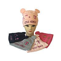 Шапочка для девочки польский трикотаж от 1 до 3 лет