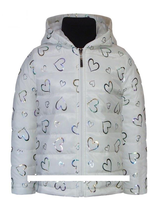 Детская демисезонная куртка для девочки Сердечки | размеры от 1 года до 5.