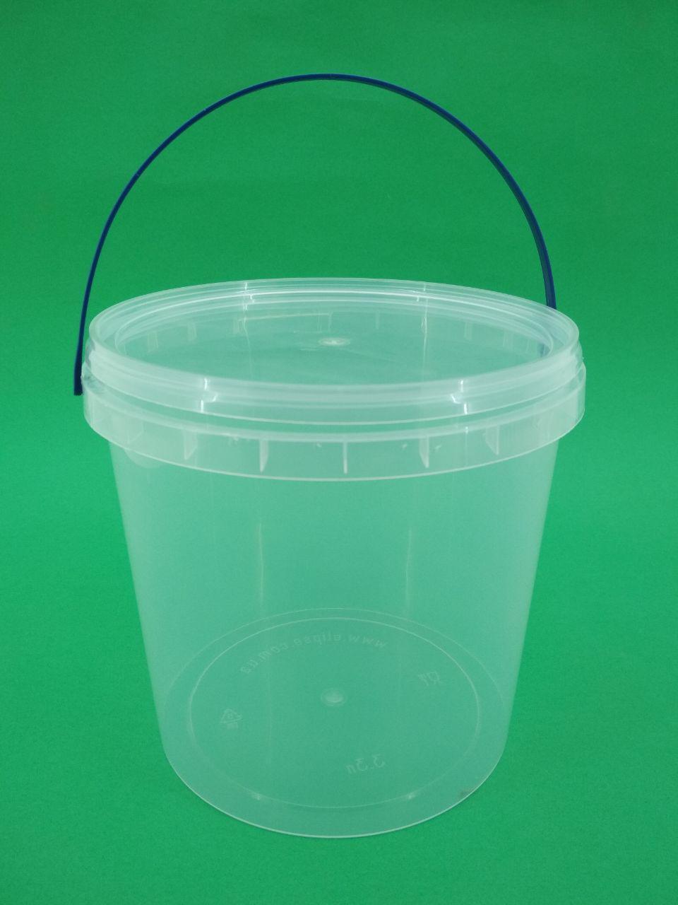 Прозрачное пластиковое ведро для продуктов с крышкой (V=3,3л.), 100 шт/пач
