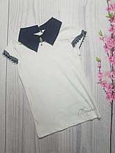 Блузка для девочки с коротким рукавом в школу р.140-176 опт