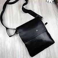 Брендовая мужская сумка-планшетка MontBlanc черная эко кожа качественная МонБлан премиум реплика, фото 1