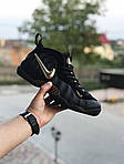 Чоловічі кросівки Nike Air Foamposite Pro (чорно-золотисті), фото 2