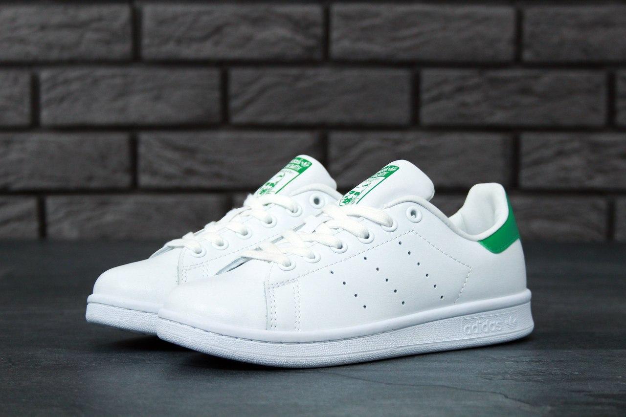 Мужские кроссовки Adidas Stan Smith (бело-зеленые)
