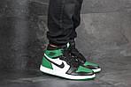 Чоловічі кросівки Nike Air Jordan 1 Retro High OG (біло-чорно-зелений), фото 3