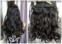 Волосы на заколках тресс затылочная густая прядь волна №2  длина 45см темный шоколад