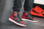 Чоловічі кросівки Nike Air Jordan 1 Retro High OG (чорно-червоні), фото 2