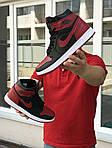 Чоловічі кросівки Nike Air Jordan 1 Retro High OG (чорно-червоні), фото 3