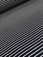 Полушерстяная ткань ангора темно-синяя с белой полосой, фото 1