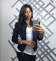 Куртка женская замша синего цвета, фото 1