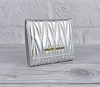 Кошелек кожаный Miu Miu 4737 серебро, 11 отделов для карт, фото 1