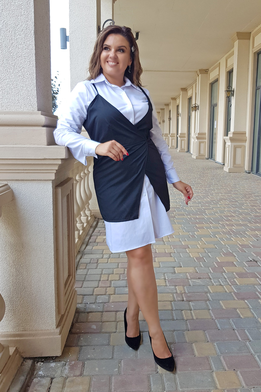 Стильная Жилетка Бретели Полоска и платье  05005/0227