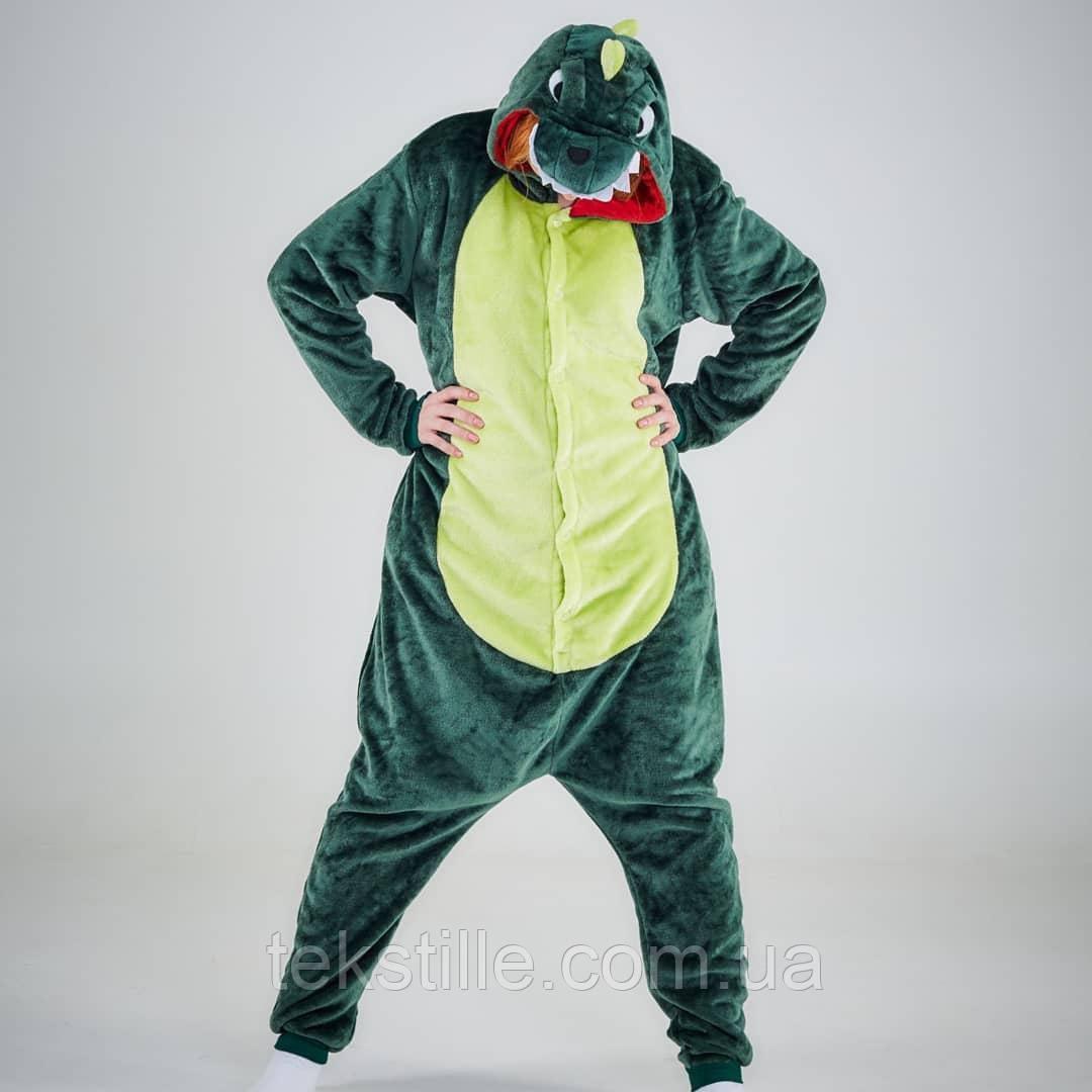 Кигуруми для взрослых Динозавр Зеленый S.M