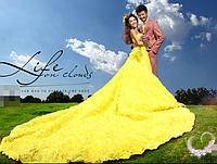 Свадебное платье со съемным шлейфом - ЖЁЛТОЕ