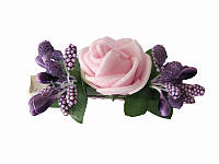 Заколка Украинская роза розовая (Украинские венки, обручи, заколки)
