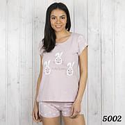 """Пижама женская. Комплект-двойка женский: футболка и шорты с принтом """"Cute bunny"""" Pink Secret (Турция) р.L"""