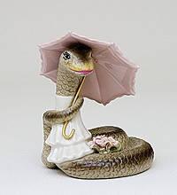 Статуэтка Змея с букетом (9см) цветов и зонтиком из фарфора в подарочной коробке