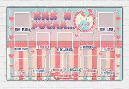 "Плакат ""Як я росла"" (Бебі шауер/Baby shower) Гендер паті для дівчинки Русс"
