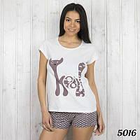 Пижама женская. Комплект-двойка женский: футболка и шорты с принтом Pink Secret (Турция)  р.М.ХL