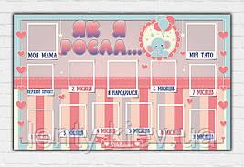 """Плакат """"Як я росла"""" (Бебі шауер/Baby shower) для дівчинки Укр"""