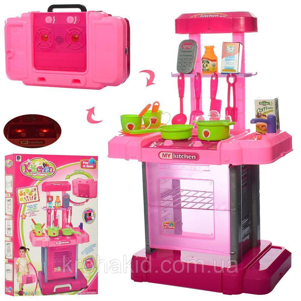 Кухня детская 661-60 в чемоданчике, плита, духовка, звук, свет, посуда, продукты - 42-25,5-66 см