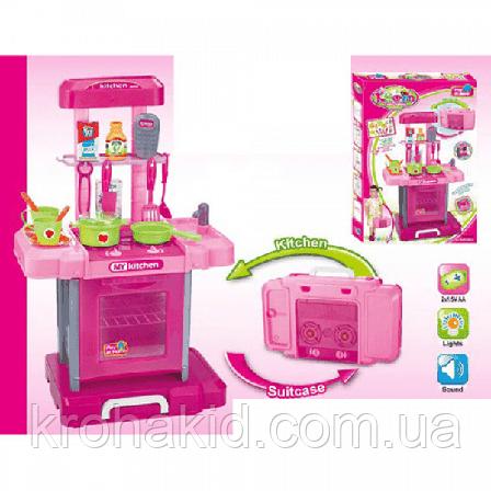 Кухня детская 661-60 в чемоданчике, плита, духовка, звук, свет, посуда, продукты - 42-25,5-66 см, фото 2