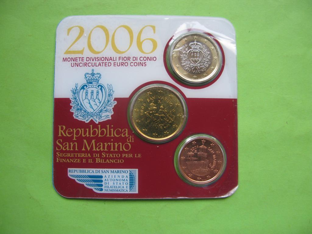 Сан Марино мини набор 2006 г. ( 1 евро + 50 центов + 5 центов)