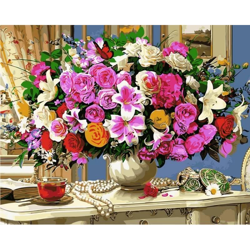 """Алмазна вишивка 50х40см на підрамнику (в рамі) - набір """"Літні квіти і чашка чаю"""""""