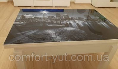 Стол трансформер Флай белый со стеклом 04_123, журнально-обеденный
