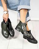 Женские демисезонные ботинки Челси из черной брогированной кожи, фото 7