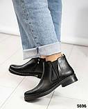 Женские демисезонные ботинки Челси из черной брогированной кожи, фото 5