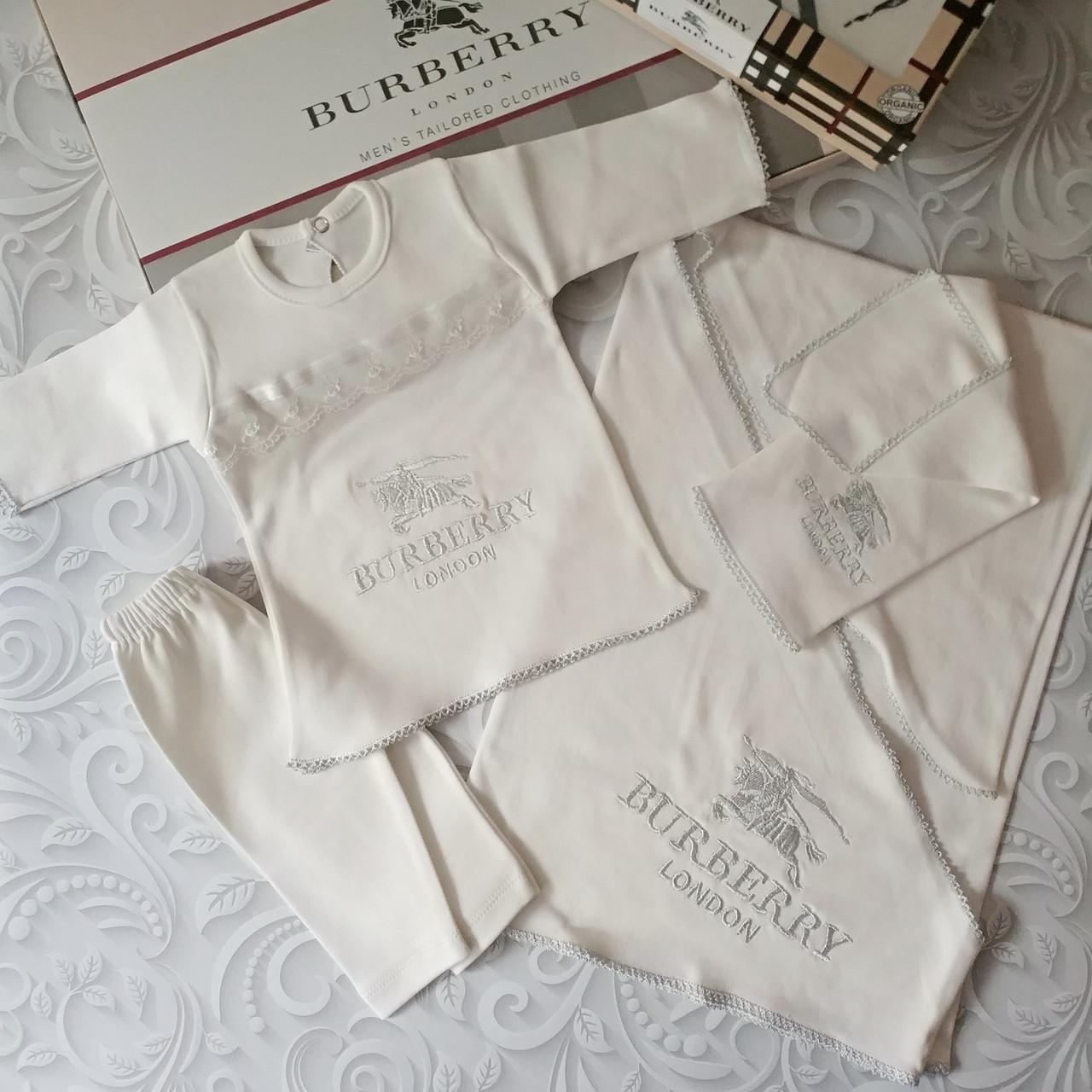Комплект Burberry на выписку, в роддом, на крещение, 5 предметов