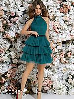 Платье с многоярусной юбкой из сетки и открытой спиной, 00048 (Зеленый), Размер 42 (S)
