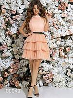 Платье с многоярусной юбкой из сетки до колена, 00049 (Персиковый), Размер 46 (L)
