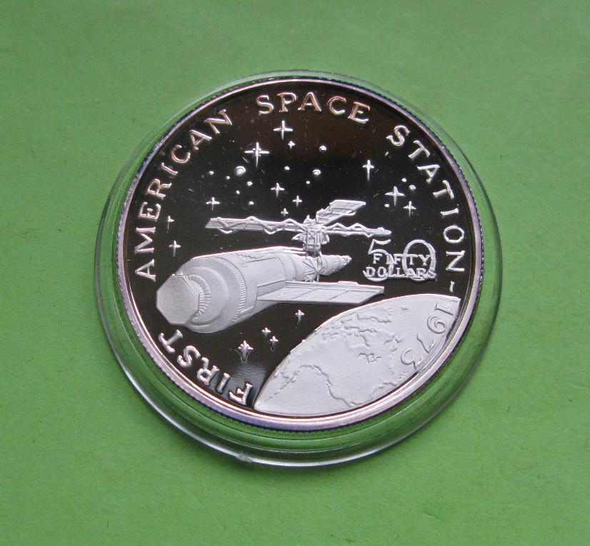 Маршалловы о-ва 50 долларов 1989 г. Космос. Первая американская космическая станция в 1973 году.