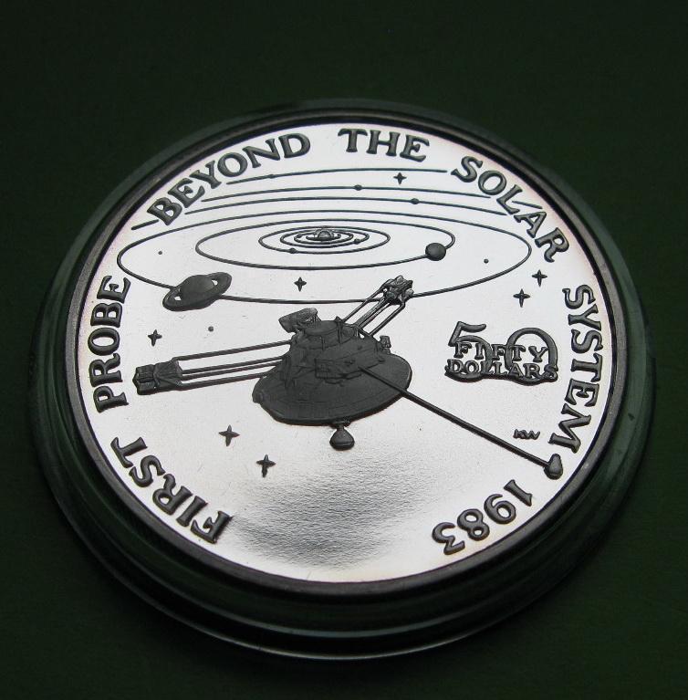 Маршалловы о-ва 50 долларов 1989 г. Космос. Запуск первого зонда за пределы солнечной системы в 1983