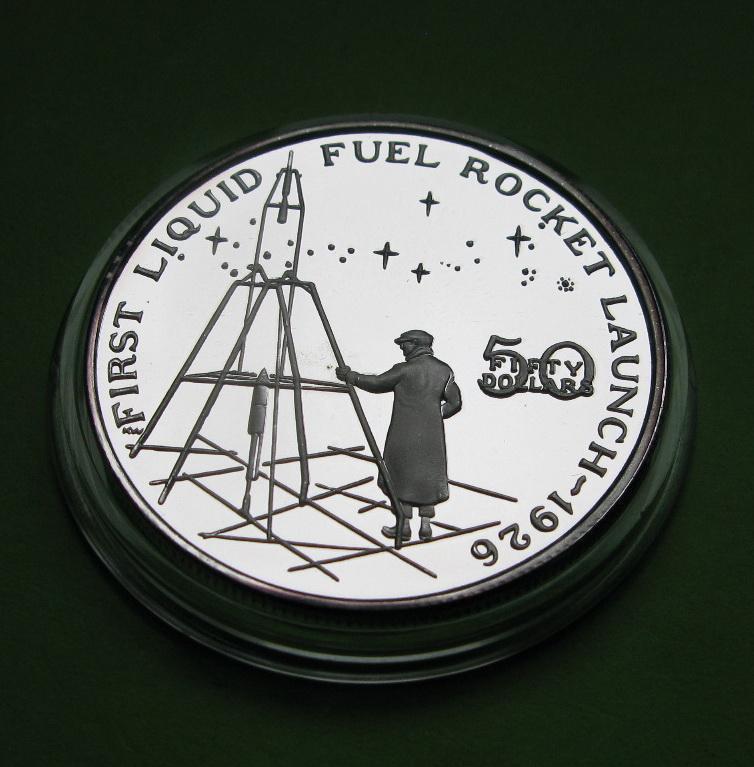 Маршалловы о-ва 50 долларов 1989 г. Космос. Запуск первой ракеты на жидком топливе в 1926 году.