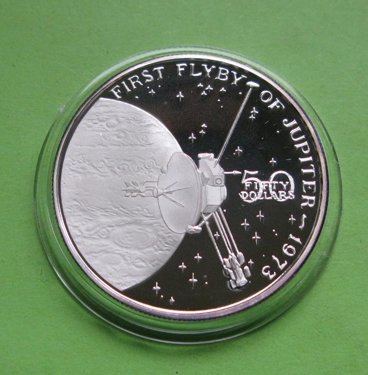 Маршалловы о-ва 50 долларов 1989 г. Космос. Первый облет Юпитера в 1973 году