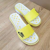 Розпродаж! Шльопанці Nike жовті з чорним шльопанці танкетка . тракторна підошва, фото 3