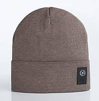 Вязаная шапка с отворотом Бест кофейного цвета