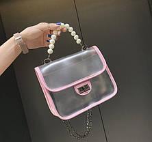 Элегантная прозрачная сумка с красивой ручкой для стильных девушек, фото 3